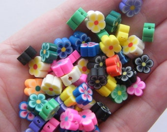 100 Polymer clay flower beads B160 - SALE 50% OFF
