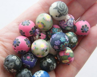 50 Polymer clay beads 16mm B158 - SALE 50% OFF