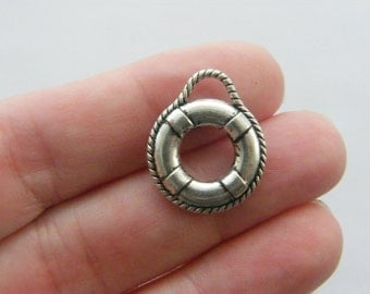 6 Life ring pendants antique silver tone SC43