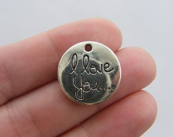 4 I love you ... charms antique silver tone M796