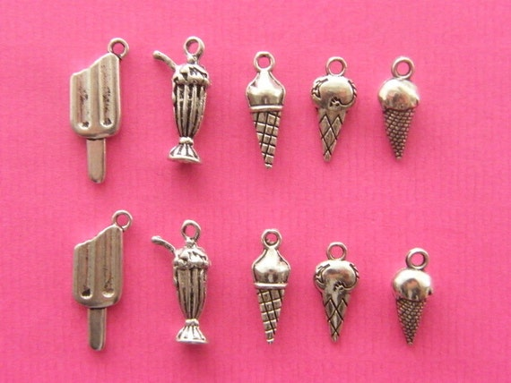 The Ice Cream Collection - 10 antique silver tone ( double sided ) charms