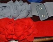 Chiffon Flower cinch belt Wide elastic stretch corset belt, Gray or Red ,one size