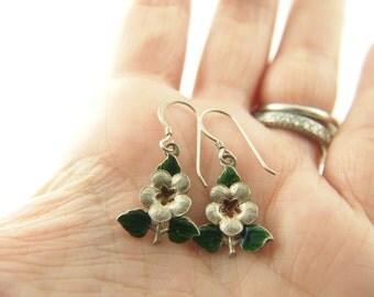 Enamel Flower Earrings - Sterling Silver - Vintage