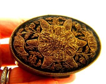 Embroidered Velvet Box - Floral Design - Decorative Item - Vintage