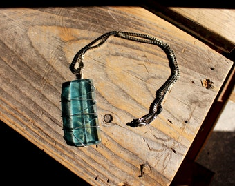 Repurposed Bombay Sapphire Gin Bottle 'Tag' Style Necklace with Silver Wire Wrap Chain Included
