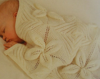 Knitting PATTERN 3 Pram/Cot Covers - 4ply Shawls and Blanket Afghans - 3 designs Instant DOWNLOAD