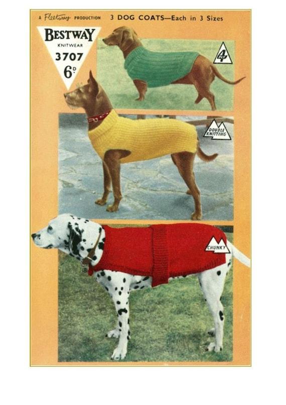 Vintage Dog Coat Knitting Pattern : Knitting Pattern Vintage pattern DOG COATS 3 styles and 3
