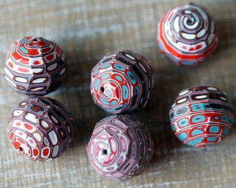 3 Polymer Clay Beads - Faceted Marble Beads - Polymer Clay Art Beads - Faceted Polymer Clay Beads - Bead Soup Beads