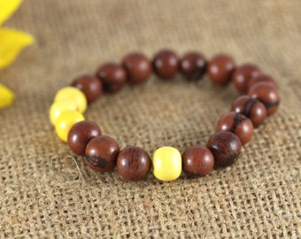 Acai Chocolate Brown and Yellow Beaded Stretch Bracelet, natural, stacking bracelet, layering bracelet