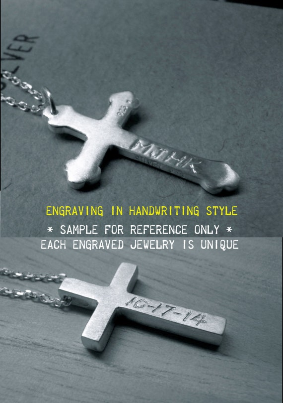 Engraving service - Personalized cross silver necklace - Handwriting style engraved handmade jewelry - RESERVED for reaganmiller92