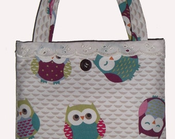 Small Preppy Owl Tote Bag - Perfect for Storage - Toys - Books - Bits n Bobs GIFT IDEA