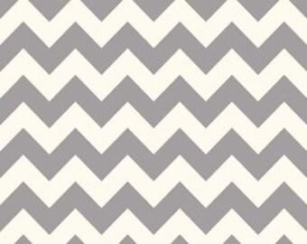 Medium Chevron Fabric in Grey and Cream by Riley Blake Designs - 1 Yard- By the Yard