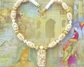 Beautiful Hindu Goddess Lakshmi, Cast Sculpture Pendant, Exquisite Carved Bone Beads & Gold Beads, Necklace by SandraDesigns