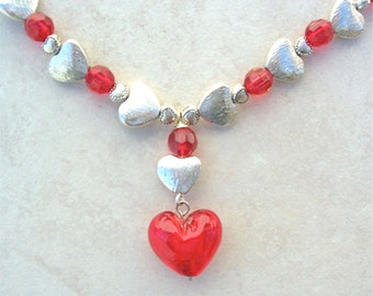 Hearts Galore! Sterling Silver Hearts, Focal Glass Heart & Red Crystal Beads, Necklace by SandraDesigns
