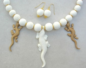 Geckos Galore, Carved Balinese Bone & Brass Geckos, White Sponge Coral Beads, Weird and Wild Things Collection, Necklace Set by SandraDesign