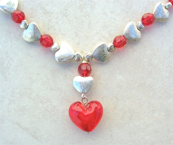 Hearts Galore! Sterling Silver Hearts, Glass Heart & Red Crystal Beads, Necklace by SandraDesigns