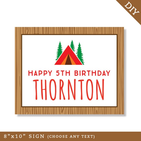 Camping Party Personalized DIY printable sign