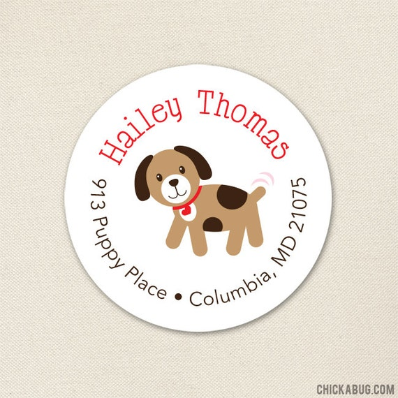 puppy address labels dog address labels sheet of 24 choose red