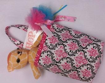Adjustable Pink  Damask And Zebra Car Garbage Or Storage Bag.
