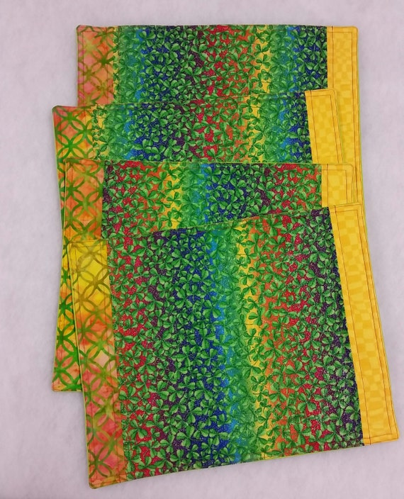 saint patrick 39 s day placemats with glitter rainbow