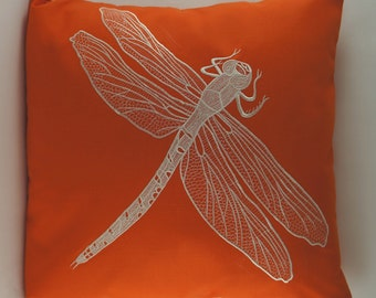 "Dragonfly Pillow Cover, Embroidery, Spring Pillow, Summer Pillow, Decorative Pillow, Accent Pillow, 18""x18"", Orange, Ready to ship"