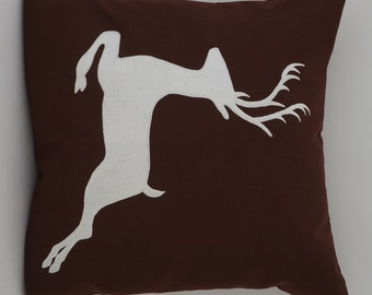 "Deer Pillow Cover, Embroidery, Spring Pillow, Summer Pillow, Decorative Pillow, Accent Pillow, 18""x18"", Brown, Ready to ship"