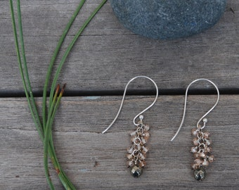 Champaign CZ with Faceted PYRITE sterling silver Long French Earwires dangle chandelier EARRINGS