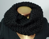 Black Tight Knit Cozie Infinity Circle Scarf Cowl