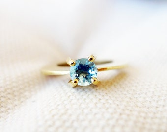 Solitaire. Blue Topaz Cocktail Ring. Handmade 14K Unique Gold Ring. Set with Blue Topaz. Statement Solitaire Ring. Handmade Gold Ring.