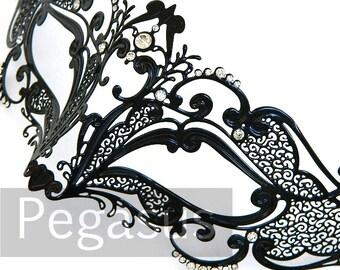 Black Fox Spirit Venetian Filigree Scroll work Metal  Masquerade Mask (5 color options) Lightweight Laser Cut flexible