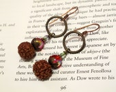 Berry Tree - Seed, Red Glass, Clear Glass, Copper, Hoop, Holiday Earrings