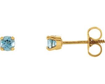 14kt Gold Birthstone Earrings March Birthstone-AA Grade Aquamarine Studs
