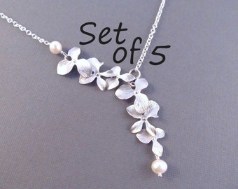 Pearl Bridesmaid Necklace Set of 5, Silver Orchid Flowers with Pearls, Bridal Party Jewelry, Wedding Jewelry, Lariat Style Necklace