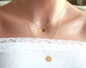 Double necklaces Three Initial discs - 14K Gold Filled - engraved necklace ,Valentine , for her,  birthday gifts , mother's mom daughter