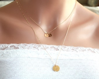 Double necklaces Three Initial disks - 14K Gold Filled, engraved Disks, everyday jewelry, Mom's necklace, Mother's Day birthday gift for her