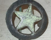 Drawer knobs cast iron drawer pulls Star antiqued  or Pick Your Color