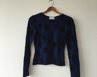 Deep Blue Long Sleeve with Black Velvet Leaf Print