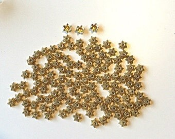 Gold Bead Caps 50 Findings for jewelry making supplies destash