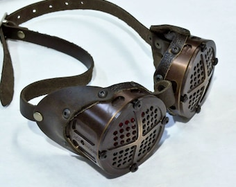 Machined Aluminum Goggles with Cover Plates, Antiqued Copper- GO052CA