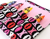 Sale - Hugs and Kisses Small Crayon Wallet, Crayon organizer, Art wallet, Coloring, Travel toy, Coloring wallet, Includes crayons