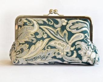 Gold Green Brocade Bridesmiad Bride Wedding Clutch Bridal Purse Gift Ideas Handmade by Lolis Creations