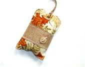 Autumn scented sachet, hanging sachet, scented door hanging pillow, rust orange, large sachet, closet freshener, gift for her, spicy sachet