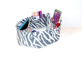 Purse organizer, bag insert, zebra print, grey white, bag organizer, padded foldable, tote bag organizer