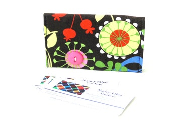 Business card holder, modern colorful flower, magnetic closure, 2 pockets, slim wallet, gift under 15, secure closure, gift card holder