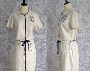 Vintage Linen Dress 1960s Dress 60s Dress Casual Linen Dress Off White Day Dress with Monogram 1960s Clothing Womens Size Small Medium