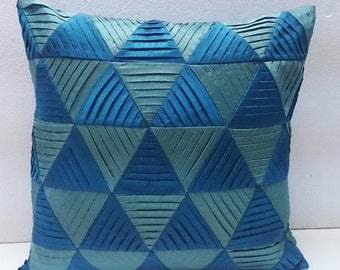 modern decorative pillow-blue and light blue zig zag pleated origami triangle pleated cushion-home decor-accent pillow-hand sticthed pillow
