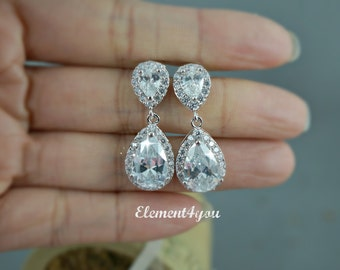 Bridal earrings Wedding Jewelry Clear Teardrop cubic zirconia round cz Pear Drop Sparkly Short Dangle Bridesmaid gift Shower Mother of Bride