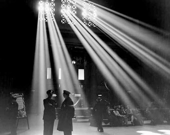 1940s Photography Chicago Train Station Moody Shadows Beams Shafts Sunlight Light Policemen Film Noir Style Vintage B & W Photography Print