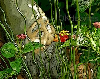 Garden Gnome Digital Print, Nursery Decor, Cottage Chic Home Decor