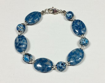 Blu-tiful Ocean Classic Dusk Denim Blue Gem Stone Quartz and Howlite Beaded Silver Bracelet Gift for Her Statement Bracelet